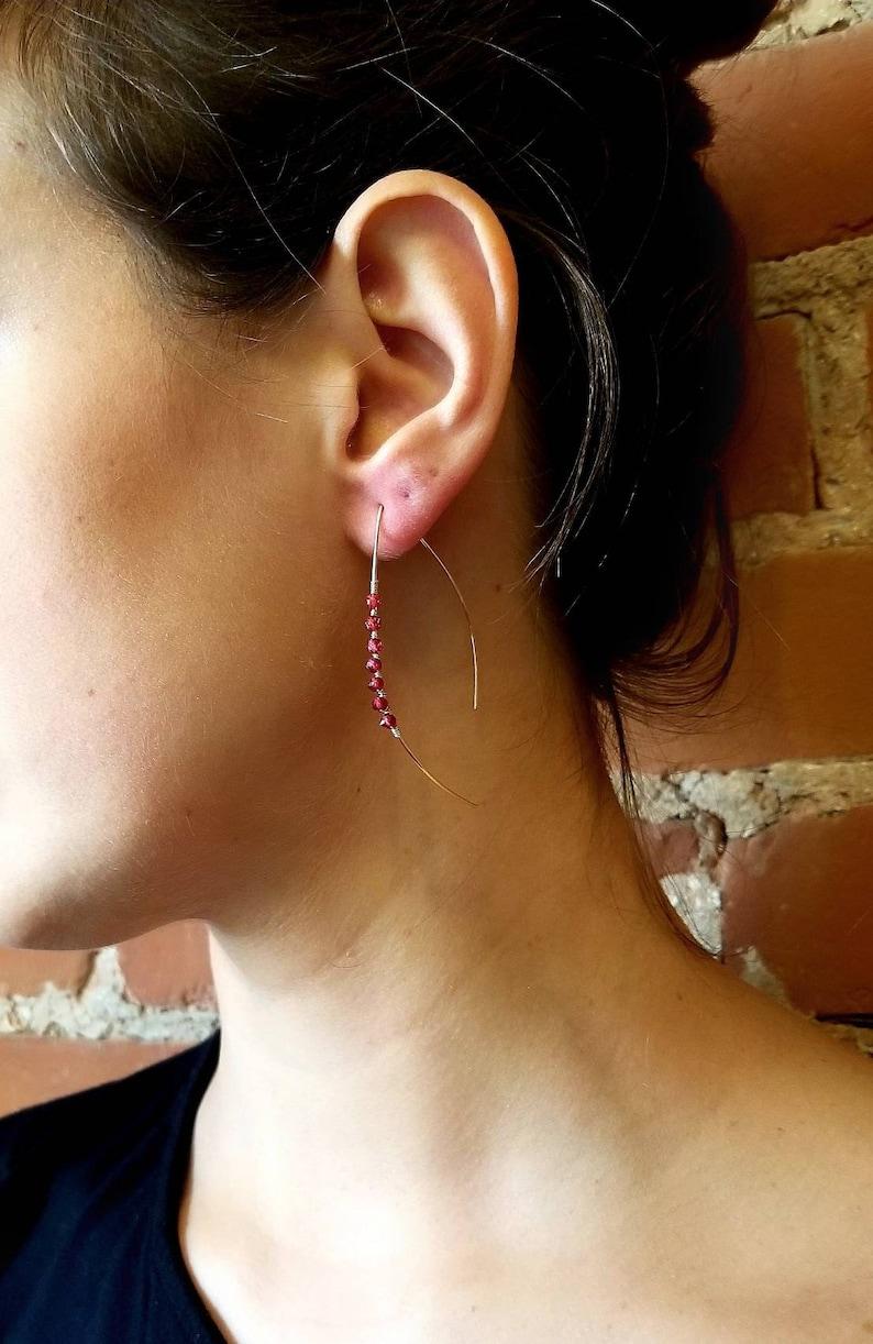 STELLAR  Delicate Ear Threads  \u2022 Sparkly Red Garnet \u2022 14K Gold Threaders \u2022 Delicate Minimalist Earrings \u2022 January Birthstone