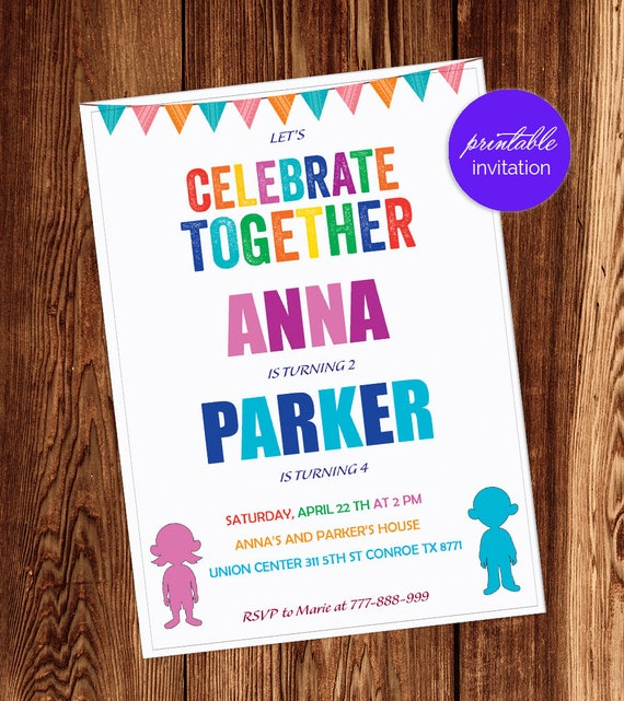 Boy Girl Joint Party Joint Birthday Party Invitation Etsy