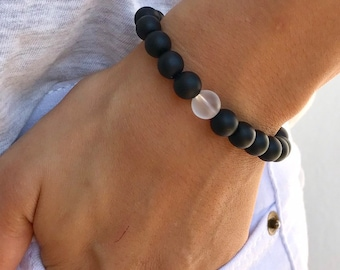 031cb5aad 8mm Natural Frosted Black&White Agate Beads Bracelet, Yoga Mala Handmade  Beaded Stretch Bracelet for Men's, Unisex, Anniversary Jewelry Gift