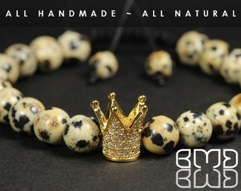 Men's Gold Plated Micro Pave Crown with Natural Dalmatian Jasper Beads Shamballa, Macrame Adjustable Bracelet, Customize Your Bracelet