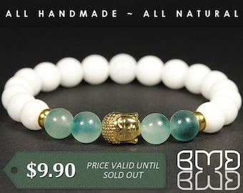 8mm Natural Green Marble & White Jade Beads with Gold Plated Buddha Head, Yoga, Mala Spiritual Stretch Beaded Bracelet Gift for Men's, Women