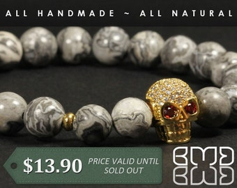8mm Natural Scenery Jasper Beads with High Quality Micro Pave Cubic Zirconia Gold Plated Skull Beaded Bracelet for Men's, Women, Unisex