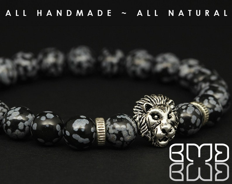 Women 8mm Natural Snowflake Obsidian Beads with Antique Silver Plated Lion Head Bead Mala Unisex Stretch Beaded Bracelet for Men/'s Yoga