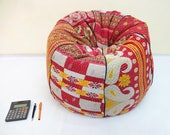 Handmade cotton kantha quilt 39 s cut peice Floral kids Bean Bag Chair ,Living room Round Bohemian Decorative Embroidered Gypsy Ottoman Pouf