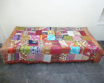 Handmade  Kantha Quilt Indian Cotton Bedspread Bedding ,throw, bed cover , coverlet , twin size quilt