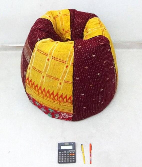 Handmade Cotton Kantha Quilt S Cut Peice Floral Bean Bag