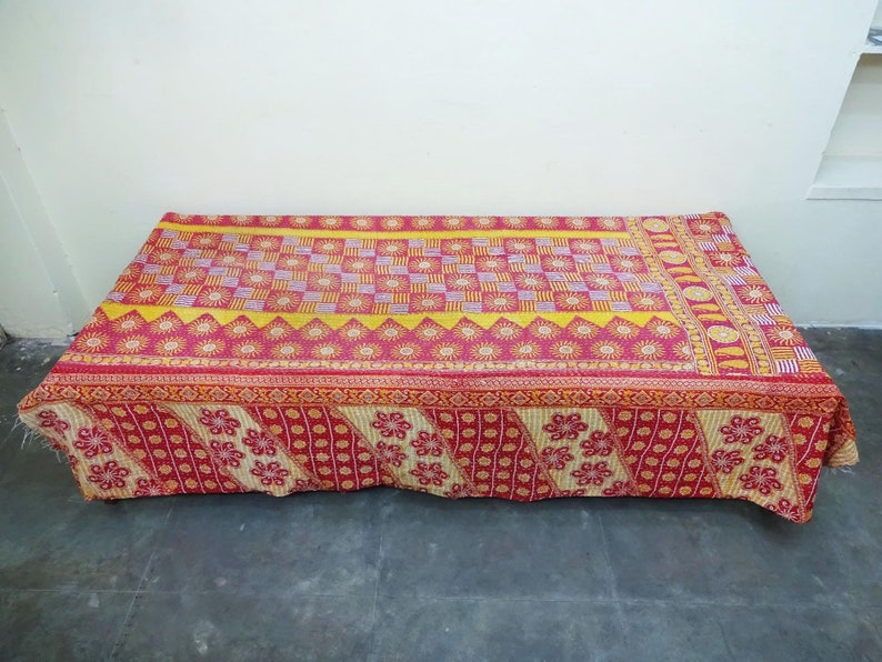 fine worl Kantha Quilt Indian Cotton Bedspread bed cover Bedding twin size bedding