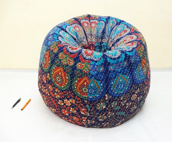 Handmade Printed Cotton Slipcover And Insert Floral Bean Bag