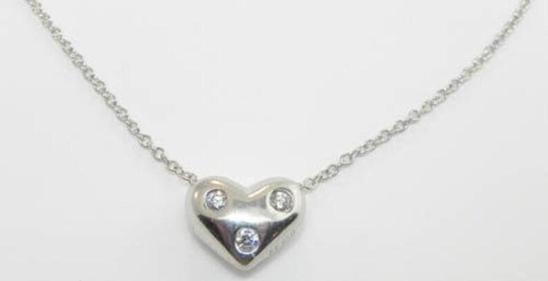 0f02ade6c Tiffany & CO. Platinum 3 Diamond Heart Pendant Necklace | Etsy