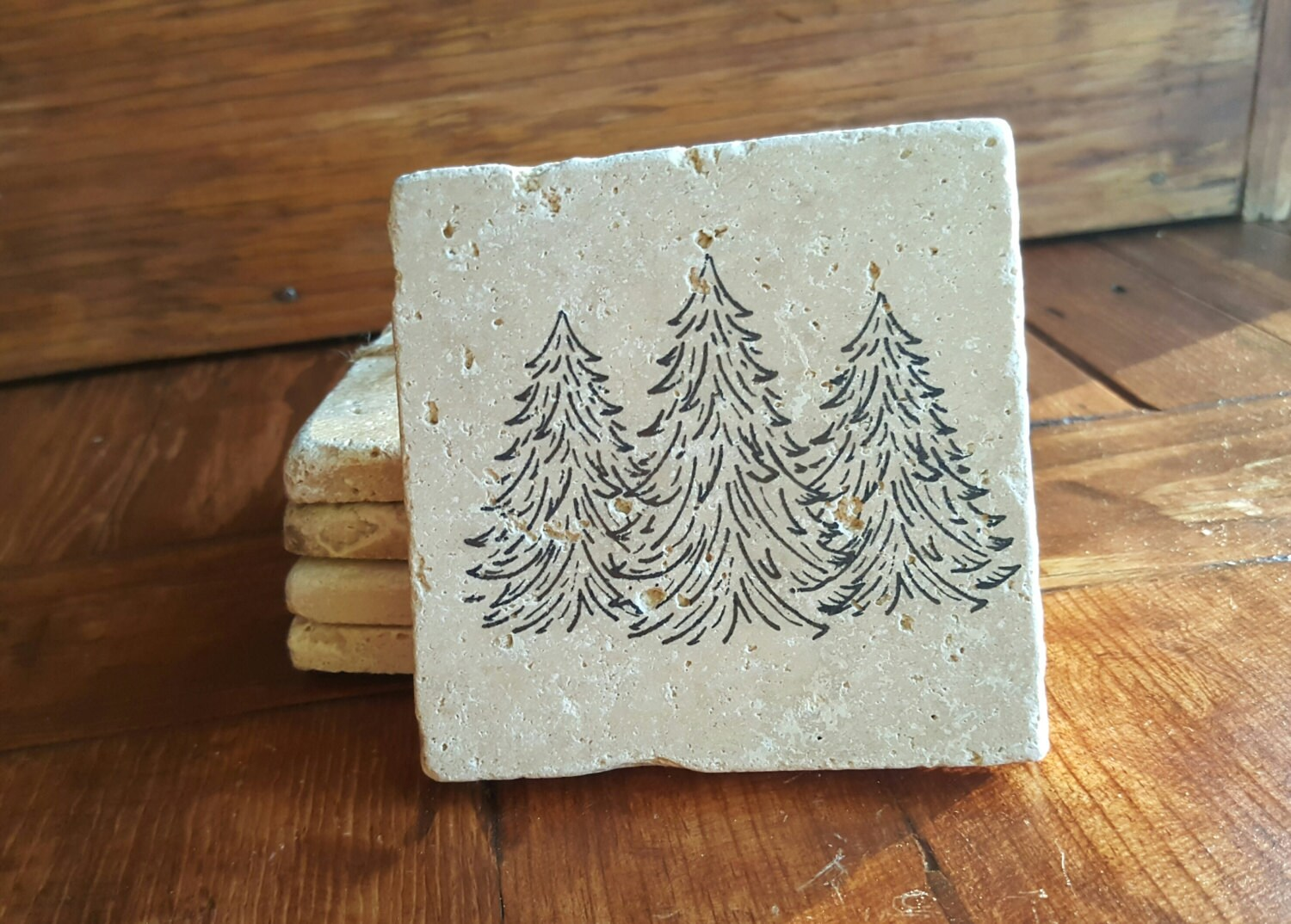 Coasters Cabin Gift Ideas Housewarming Gift New Home Gift Cabin Gifts Fathers Day Hunting Cabin Decor Rustic Decor Tree Coaster