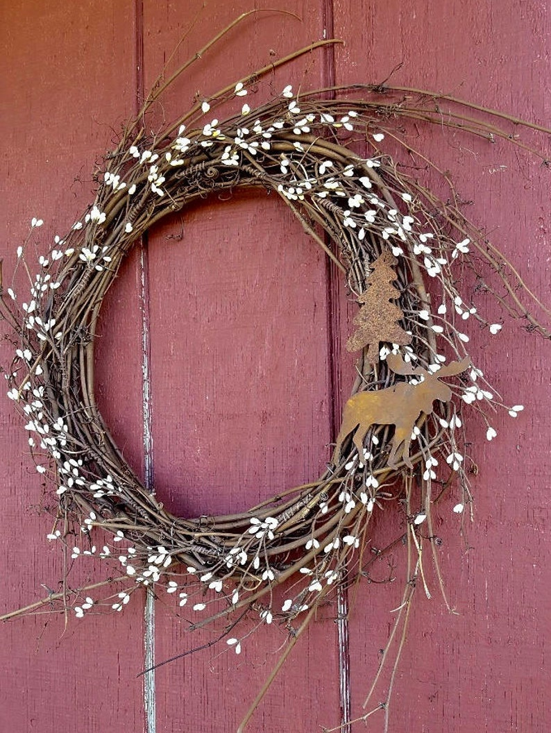 Farmhouse Decor Cabin Wreath Cabin Decor Moose Moose Gift image 3
