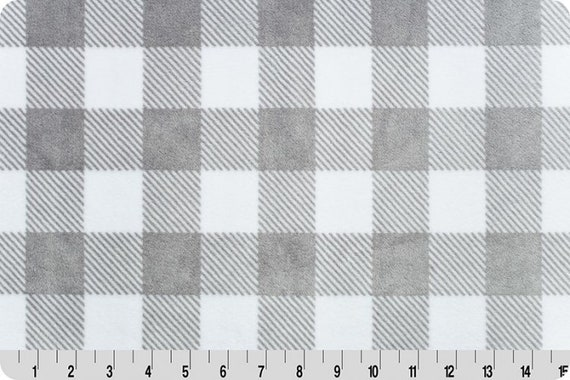 Buffalo Check Minky Cuddle in White and Black from Shannon Fabric