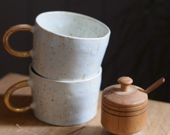 Organic white cylinder mug w/ gold handle // ceramic cup, handmade,minimal design, mug ,gift,glaze,drink,tea,coffee,dining, gold luster
