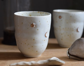 250 ml Gold moon & star coffee cup // ceramic cup, handmade,minimal design, mug ,gift,glaze,drink,tea,coffee,dining, gold luster