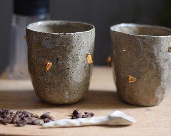 Gold nugget tumbler // ceramic tumbler, handmade coffee cup,minimal design,espresso cup,ceramic,gift,glaze,drink,tea,coffee,dining, lemonade