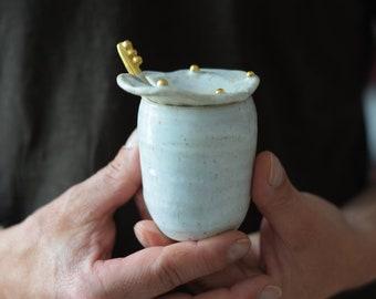 White Sugar/ Salt pot w/ spoon & lid // ceramic, handmade,minimal design, mug ,gift,glaze,drink,tea,coffee,dining, gold luster