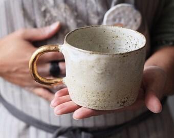 Organic cylinder mug w/ gold handle // ceramic cup, handmade coffee,minimal design, mug ,gift,glaze,drink,tea,coffee,dining, gold luster