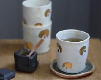 Cheetah gold cylinder cup // ceramic cup, handmade coffee,minimal design, mug ,gift,glaze,drink,tea,coffee,dining, gold ceramic, gold luster