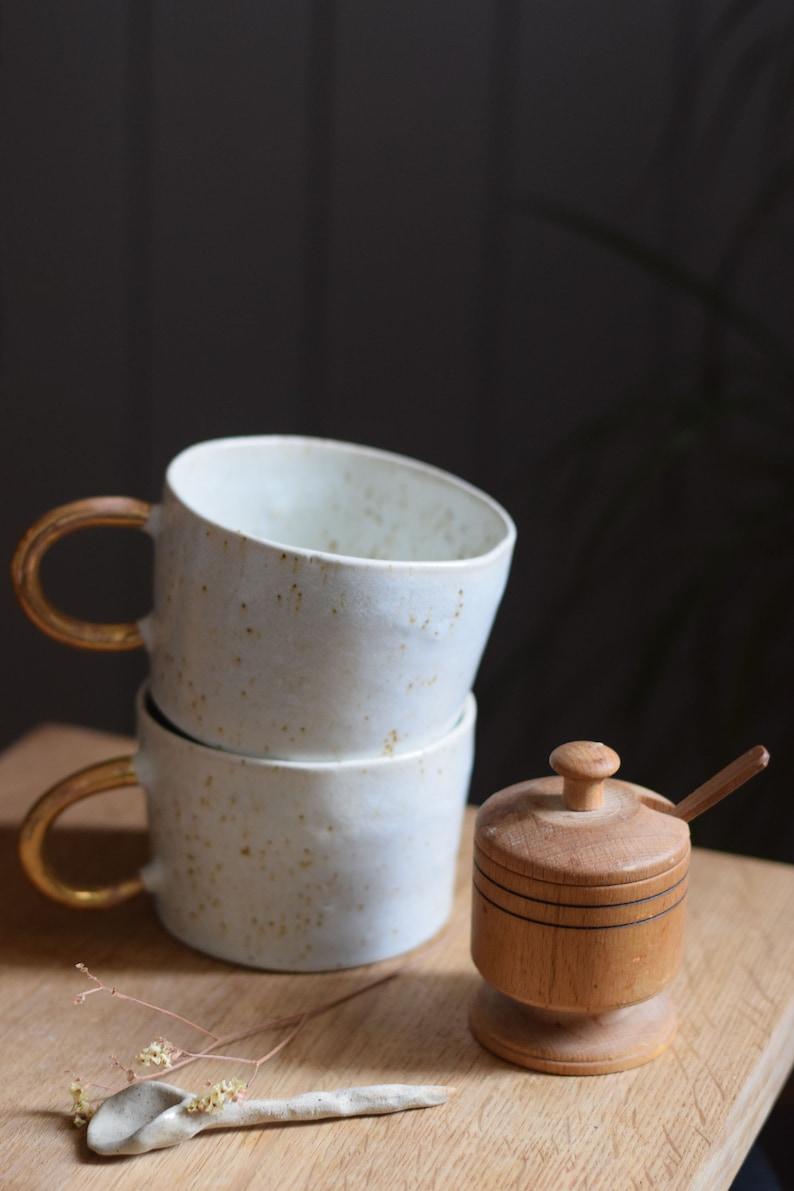 Organic white cylinder mug w/ gold handle // ceramic cup image 0