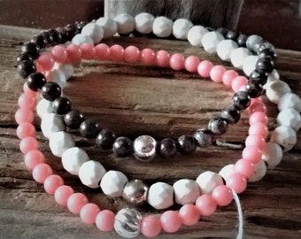 Gemstone bracelets- bead bracelets- sterling silver bracelets- stretch bracelets- stacking bracelets- coral bracelet- minimalist bracelets