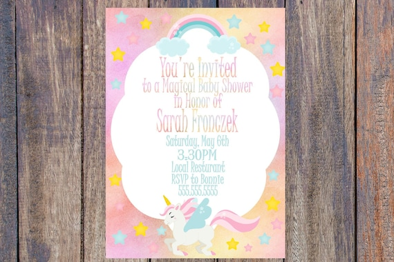 Unicornio bebé ducha invitación paquete para imprimir