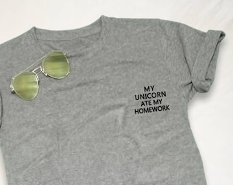 27ae01f2 Unicorn T Shirt Tee Shirt Pocket TShirt Top Tumblr Inspired Funny Womens  Teen Girl Cool Fashion Hipster Grunge Geek Unisex Cute T-Shirts