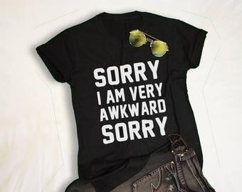 9c4e4332 Sorry Awkward TShirt Tumblr Shirts for Teens Slogan Tee Tumblr Grunge  Graphic Tee Shirts Cool T-Shirts Womens Mens Fashion Clothing