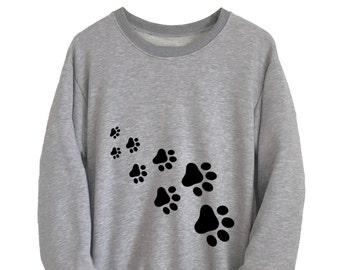 cf3a46a2b Cat Shirt Pet Gift Cute Sweatshirt Cat Paw Print Womens Long Sleeve Tee  Mens T-Shirts Unisex Crewneck Jumper Christmas Gift Ideas