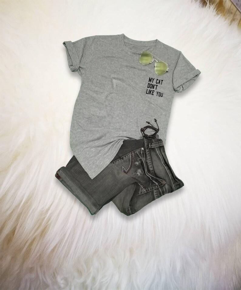 fae72ac97 Cat Shirt Cat Pocket Tee Womens T-Shirts Mens TShirt Cute   Etsy