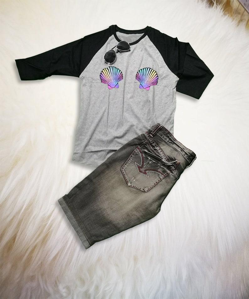 805e6909d3b9b Mermaid Shell Bra Shirt   Mermaid TShirt   Gift for Womens