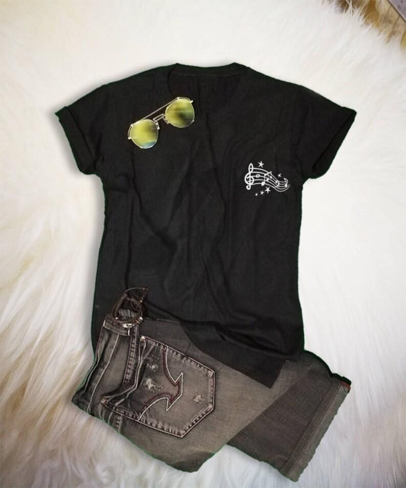 1d4fd0a02 Music Lover Gift Music Notes Shirt Unisex TShirt Pocket Tee | Etsy