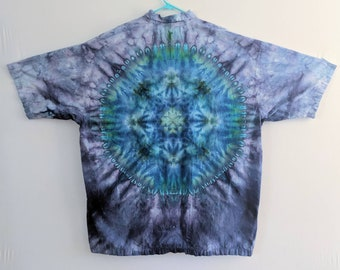 524058aff23f 3XL Ice Tie Dyed Mandala Button Up T Shirt