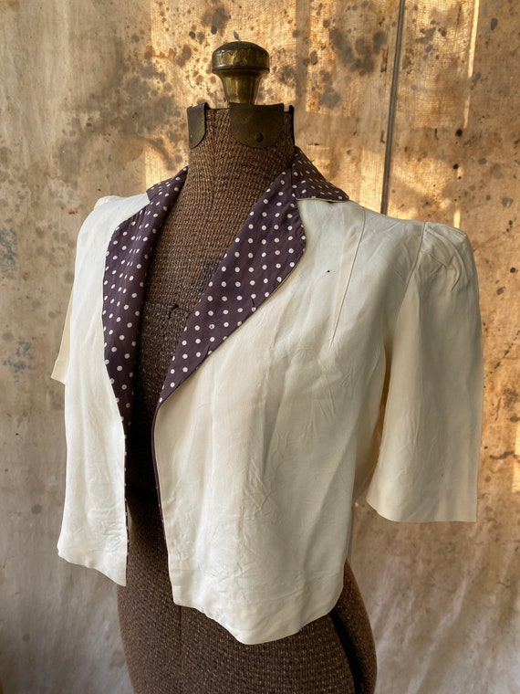 Adorable Open Cropped 1940's Rayon Jacket by Bonwi