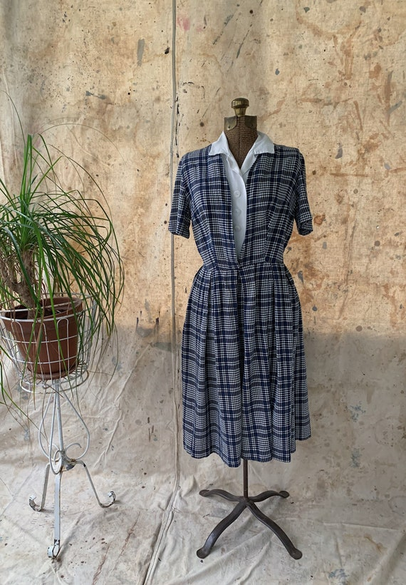 30's/40's Rayon & Cotton Houndstooth Dress MEDIUM