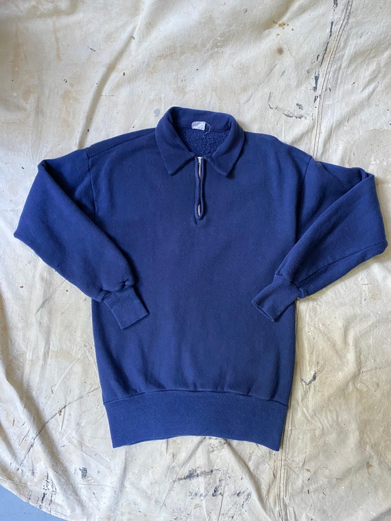 1940's Cotton Quarter Zip Navy Blue Sweatshirt By