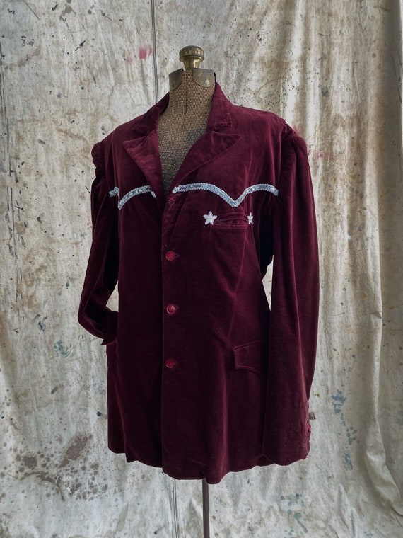 1940's Custom Tailored Velvet Blazer, Rockabilly W
