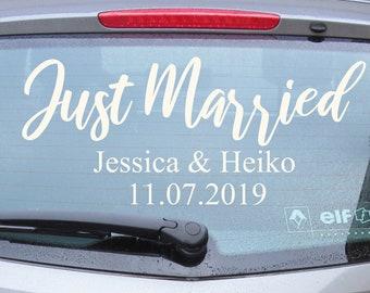 Just Married 05 - Autotattoo in Wunschfarbe - Hochzeitsaufkleber - Hochzeitsdeko - Hochzeitsdekoration - Hand Lettering