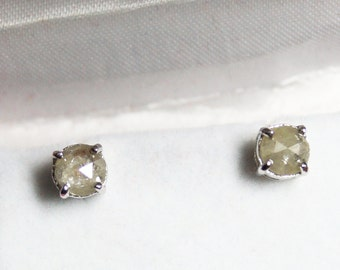 821c4d57b 6.20mm Natural Gray White Rose cut Diamond Earring - Gray Round Rose Cut Diamond  Earring - Gray Rough Diamond Earring -925 Silver Studs