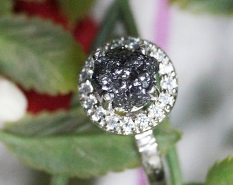 1.51 cts Black Raw diamond ring, Black diamond ring, Black Diamond engagement ring,Black rough diamond ring, 925 silver hammered Ring