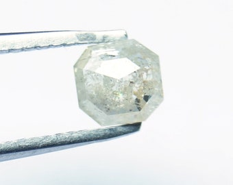 Natural Faceted Diamond Rose Cut 1.01 Tcw 5.90*5.60*2.36mm Gray Salt /& Pepper Asscher cut Rose Cut Diamond Loose Cabochon Geometric SP-24