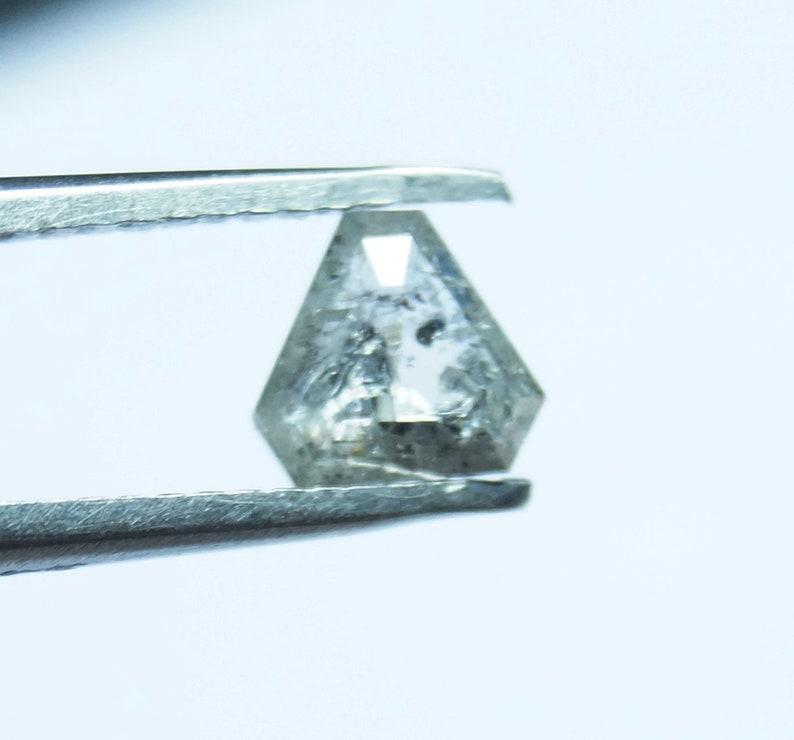 Natural Faceted Diamond Rose Cut Geometric PJ24 0.57cts 5.22x5.17x1.75mm White Salt /& Pepper Trillion Shape Rose Cut Diamond Loose Cabochon