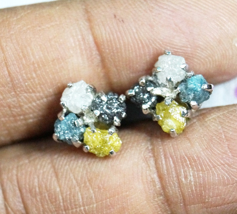61f62457cb28d 6.50 Tcw Natural Black Diamond Earring - Yellow Raw Diamond Earring - Gray  Rough Diamond Earring -925 Silver Studs - Blue Diamond Earring