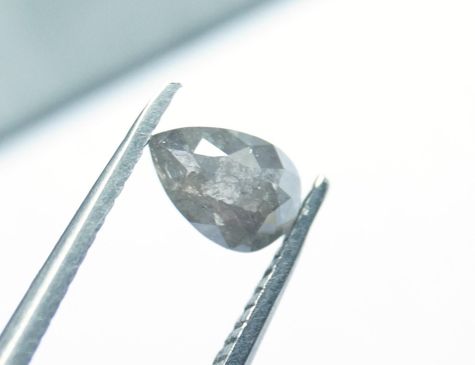 0.61cts 6.68x4.58x2.29mm gris sel & poivre forme poire forme poivre Rose Cut Diamond vrac Cabochon, naturel à facettes Diamond Rose Cut, PJ310 a47725