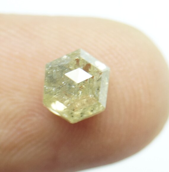 1.40cts / 6.50x5.81x3.81mm naturel jaune vert hexagone forme Rose Rose Rose à facettes Diamond Cut, Rose Cut Diamond pour l'Engagement ring PJ447 61916c