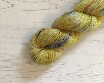 Hand Dyed Sock Yarn // Rainbow Bee // 100g Strawberry Fields Yarns
