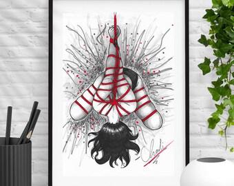 Shibari art Shibari Erotic art kinbaku kinbaku art Print
