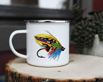 Fly Fishing Mug, Camp style mug, Fly fishing gift, metal camp mug, fishing fly mug, gift for fishers, fisherman mug, fishing lure mug,