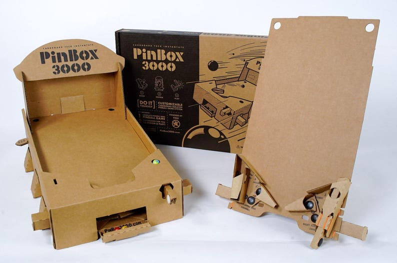 Groovy Pinbox 3000 Cardboard Tabletop Pinball Game Kit Diy Artcade Interior Design Ideas Gentotryabchikinfo