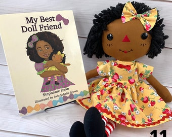 Cinnamon Annie Doll and Book Set- Save 3.00 - Raggedy Ann Doll - Children's Book - Black Doll - Gift for Girls