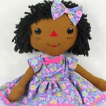 Black Doll - Raggedy Ann Doll - Personalized Rag Doll - Soft Baby Doll - Cinnamon Annie Doll - Girls Room Decor Purple